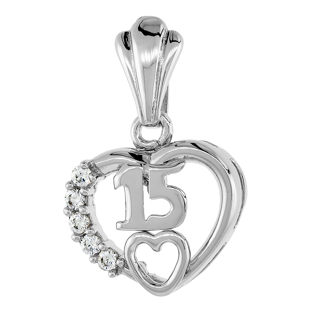Sterling Silver Quinceanera 15 Anos Heart Ring CZ stones Rhodium Finished, 7/16 inch wide, sizes 5 - 8