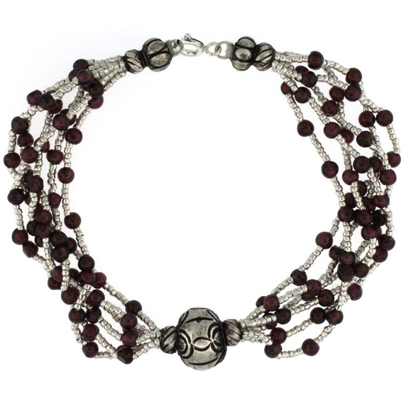 7 1/2 in. Sterling Silver 6-Strand Bali Style Garnet Bead Bracelet