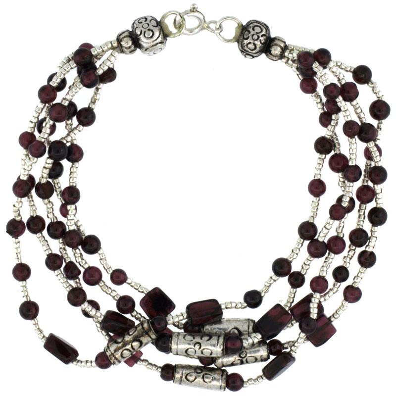7 in. Sterling Silver 5-Strand Bali Style Garnet Bead Bracelet