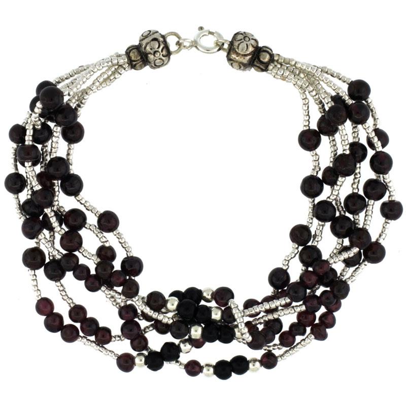 7 in. Sterling Silver 6-Strand Bead Bracelet w/ Garnet & Black Onyx Beads