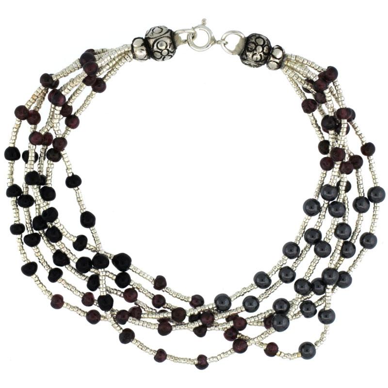 8 in. Sterling Silver 6-Strand Bali Style Bead Bracelet w/ Garnet, Black Onyx & Hematite Beads