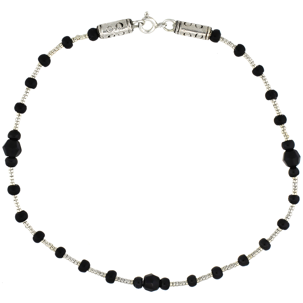 9 in. Sterling Silver Black Onyx Bead Anklet