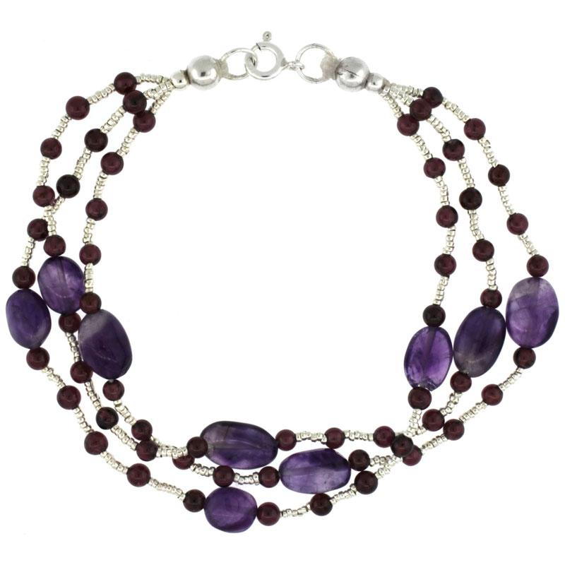 7 1/2 in. Sterling Silver 3-Strand Bead Bracelet w/ Garnet Beads & Amethyst Stones
