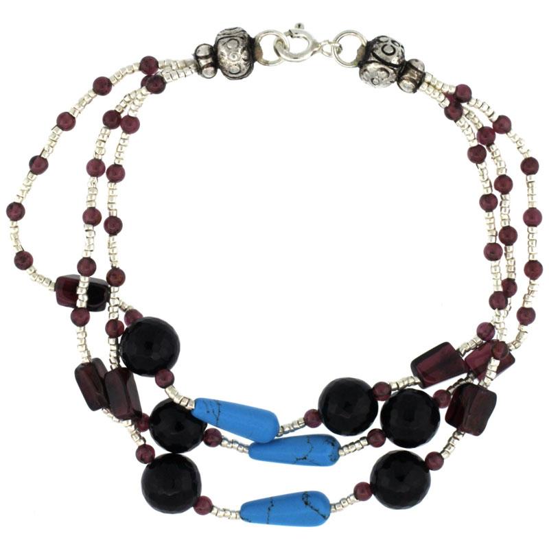 7 in. Sterling Silver 3-Strand Bead Bracelet w/ Garnet, Turquoise, Black Onyx & Amethyst Stones