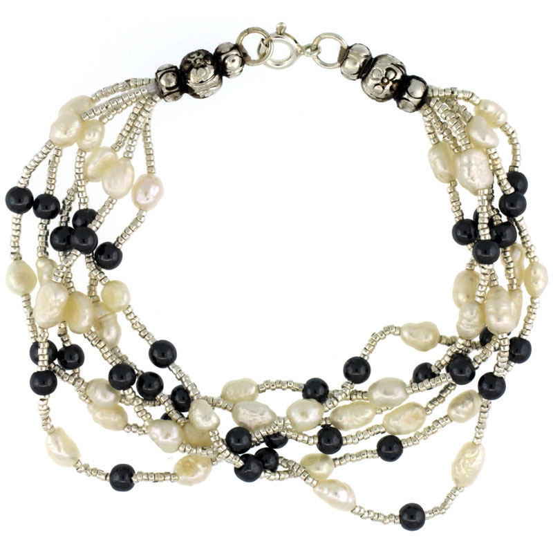 7 1/2 in. Sterling Silver 6-Strand Bead Bracelet w/ Freshwater Pearls & Hematite Beads
