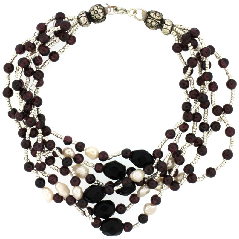 8 1/2 in. Sterling Silver 6-Strand Bead Bracelet w/ Freshwater Pearls, Black Onyx Stones & Garnet Beads
