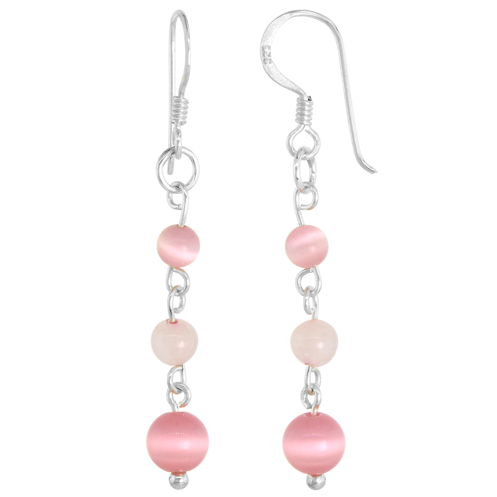 Sterling Silver Natural 3-Tier Rose Quartz and Cat's Eye Bead Fishhook Handmade Earrings 1 3/4 inch