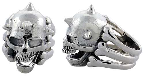 Sterling Silver Gothic Biker Skull Ring w/ Horns, 1 1/4 inch wide, sizes 9-14