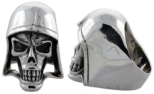 Sterling Silver Skull with Helmet Gothic Biker Ring, 1 3/8 inch wide, sizes 9-14
