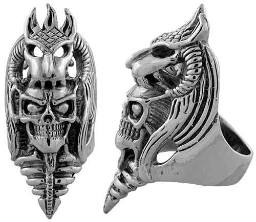 Sterling Silver Skull in Dragons Mouth, 2 inch wide, sizes 9-14
