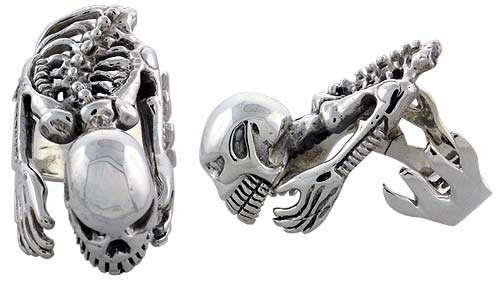 Sterling Silver Heavy Skeleton Gothic Biker Ring, 1 5/8 inch wide, sizes 9-14