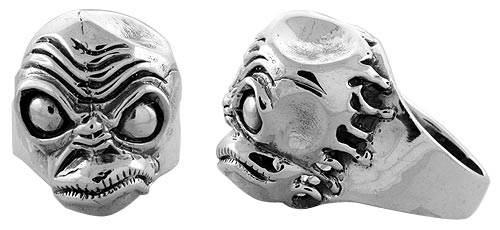 Sterling Silver Demon Head Gothic Biker Ring, 1 1/16 inch wide, sizes 9-14