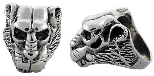 Sterling Silver Lion Gothic Biker Skull Ring, 1 1/4 inch wide, sizes 9-14