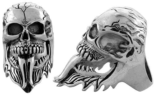 Sterling Silver Cracked Gothic Biker Skull Ring, 1 3/4 inch wide, sizes 9-14