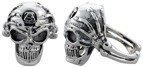 Sterling Silver Gothic Biker Skull Ring w/ Skeleton Hands, 1 inch wide, sizes 9-14