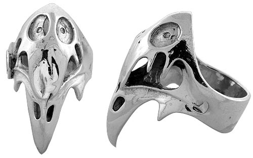 Sterling Silver Gothic Biker Vulture Skull Ring, 1 1/2 inch wide, sizes 9-14