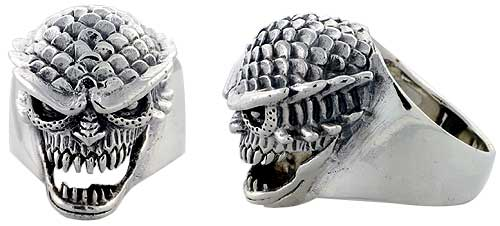 Sterling Silver Scaly Gothic Biker Skull Ring, 1 1/16 inch wide, sizes 9-14