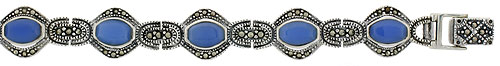Sterling Silver Oval Link Marcasite Bracelet Blue Resin Inlay, 1/2 inch wide
