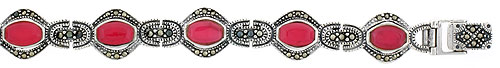 Sterling Silver Oval Link Marcasite Bracelet Red Resin Inlay, 1/2 inch wide