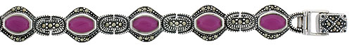 Sterling Silver Oval Link Marcasite Bracelet Purple Resin Inlay, 1/2 inch wide