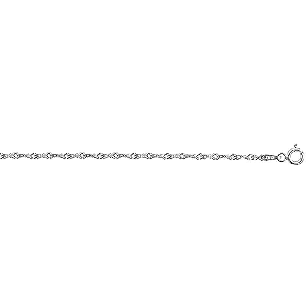 Sterling Silver Singapore Chain Necklace fine 1.7mm Nickel Free Italy, sizes 16 - 20 inch