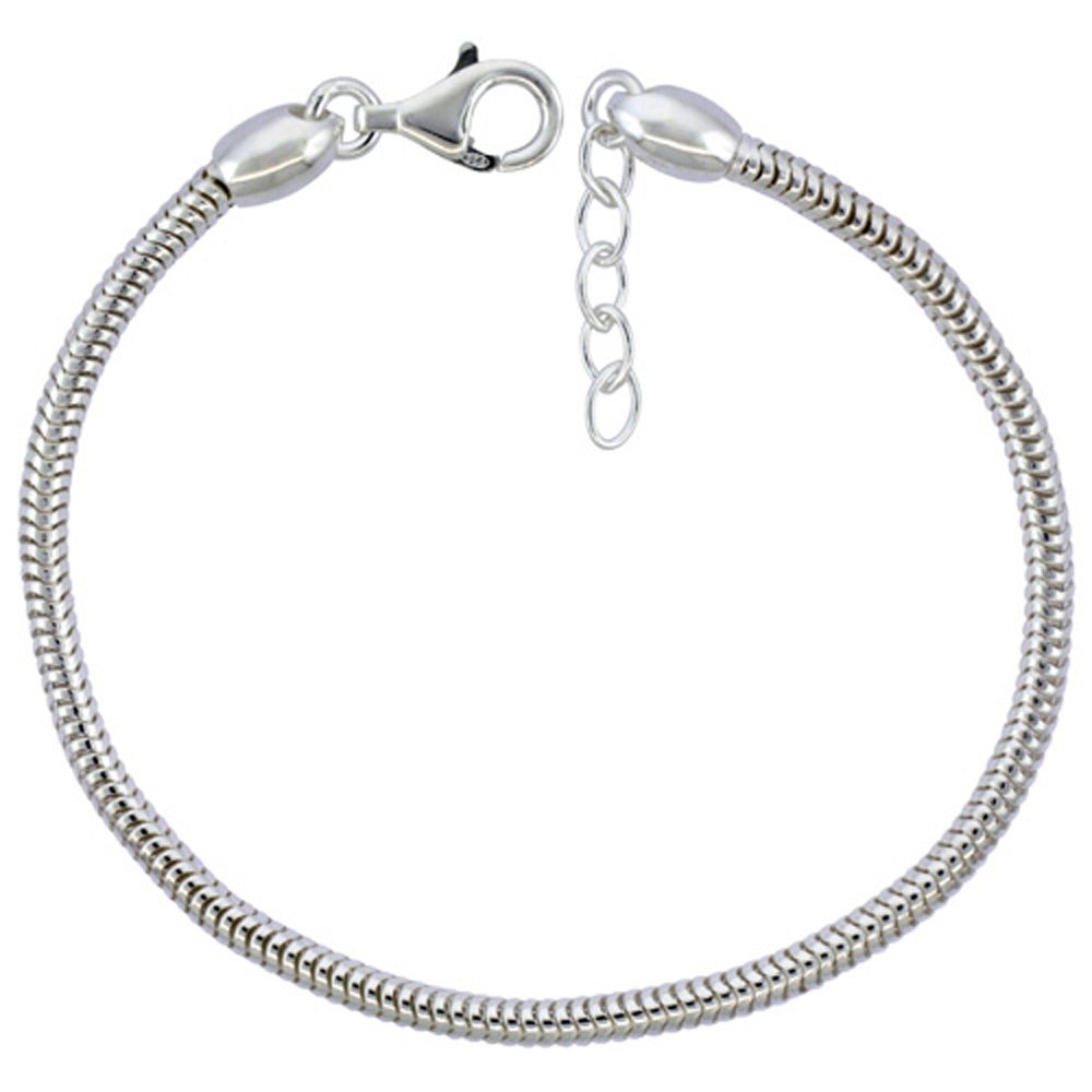 d785fd1d5b0 Sterling Silver Snake Chain Charm Bracelet 3mm Screw Cap Pandora Compatible Nickel  Free Italy, 7.5