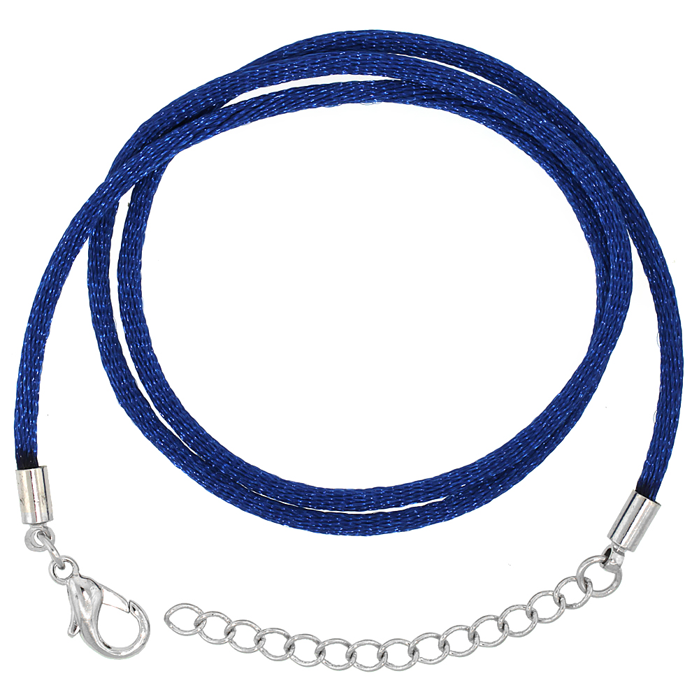 Jewelry Blue Silk Cord Chain Necklace Stainless Steel Lobster Clasp, sizes 16 & 18 + 1 inch extension