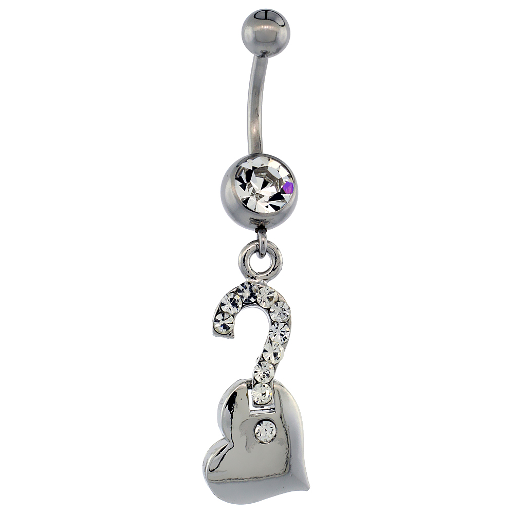 Surgical Steel Barbell Question Mark on Heart Belly Button Ring w/ Crystals, 1 1/2 inch