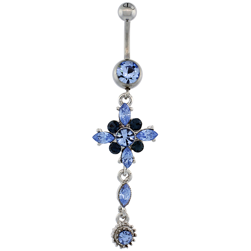 Surgical Steel Barbell Flower Belly Button Ring w/ Blue Crystals, 2 inch