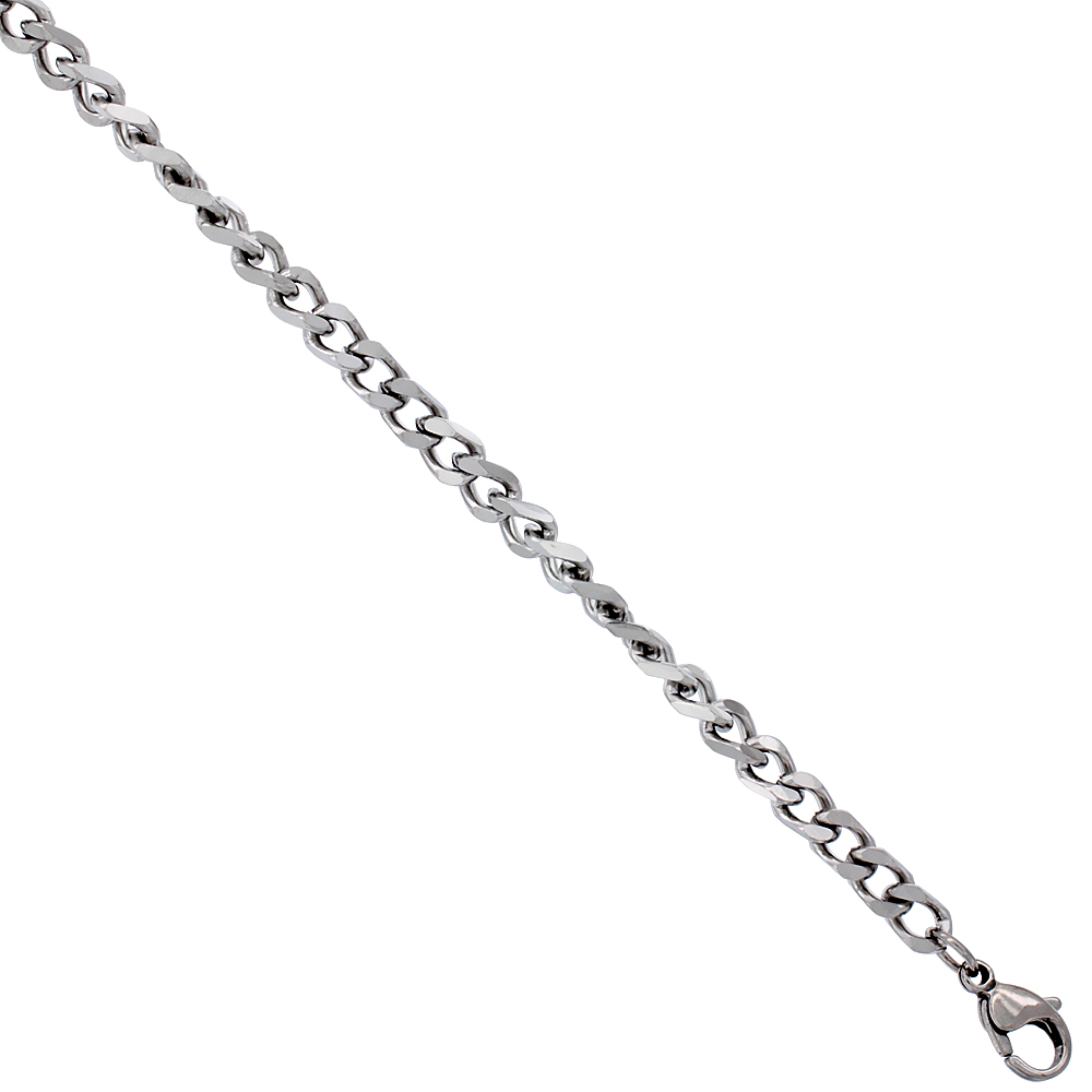 Surgical Steel Curb Chain 3/16 inch wide, available sizes 20, 24, 30 inch