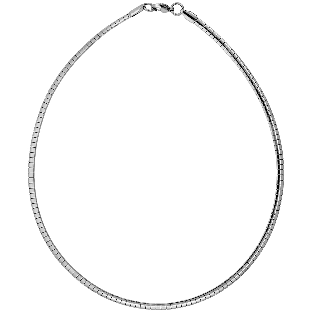 Stainless Steel Omega Necklace 4 mm wide, sizes 16 & 18 sizes
