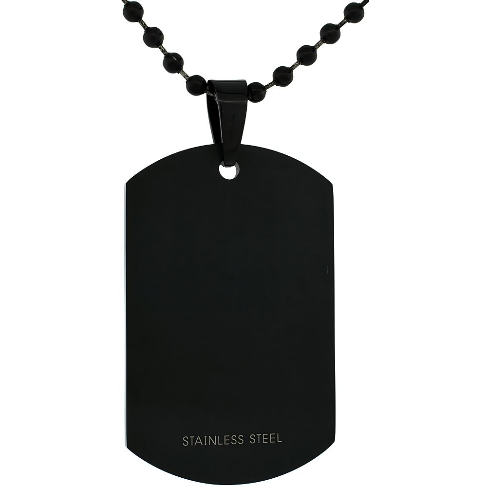 Stainless Steel Black Dog Tag Full Size 2 x 1 1/4 in. Thick Plate comes with 30 in. Ball Chain
