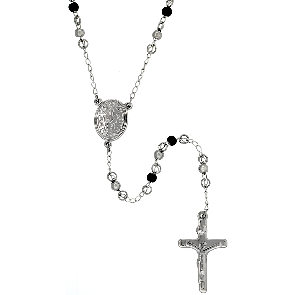 Stainless Steel 30 inch Rosary Necklace w/ 4mm Beads