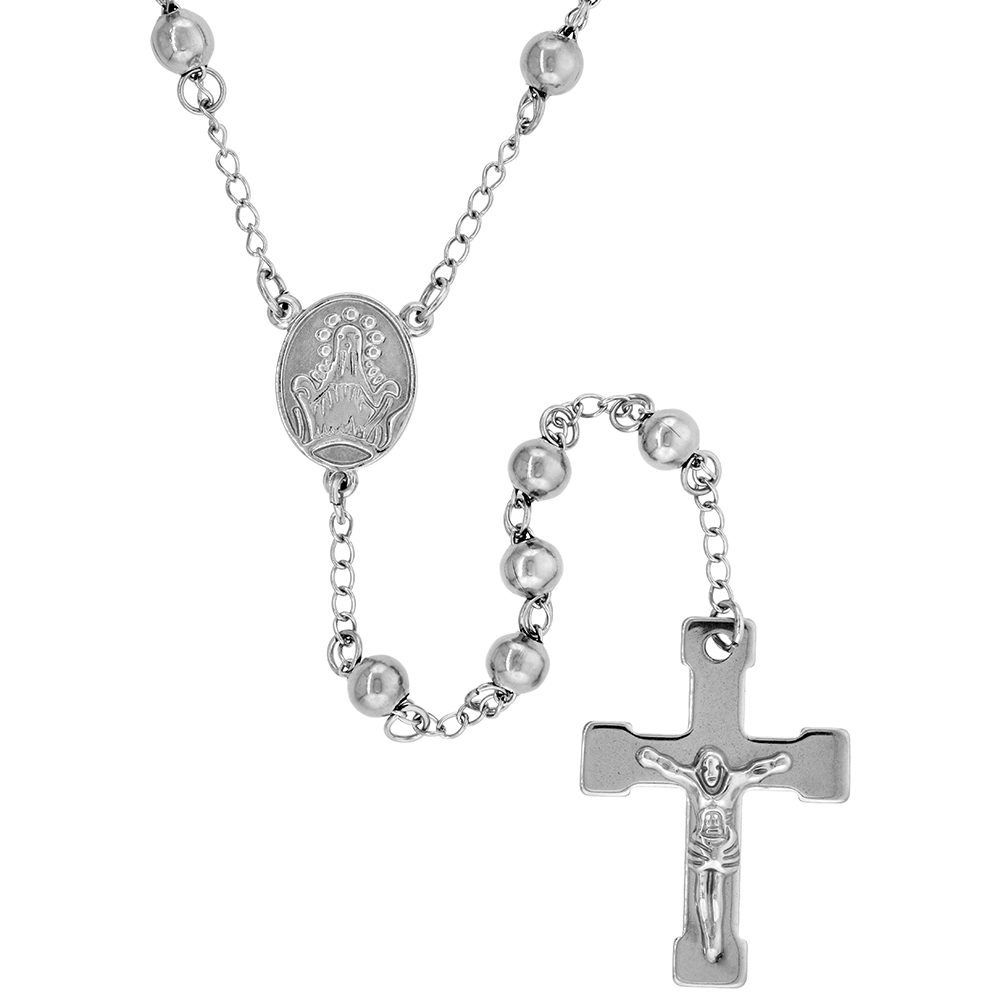 Stainless Steel 30 inch Rosary Necklace w/ 6mm Beads