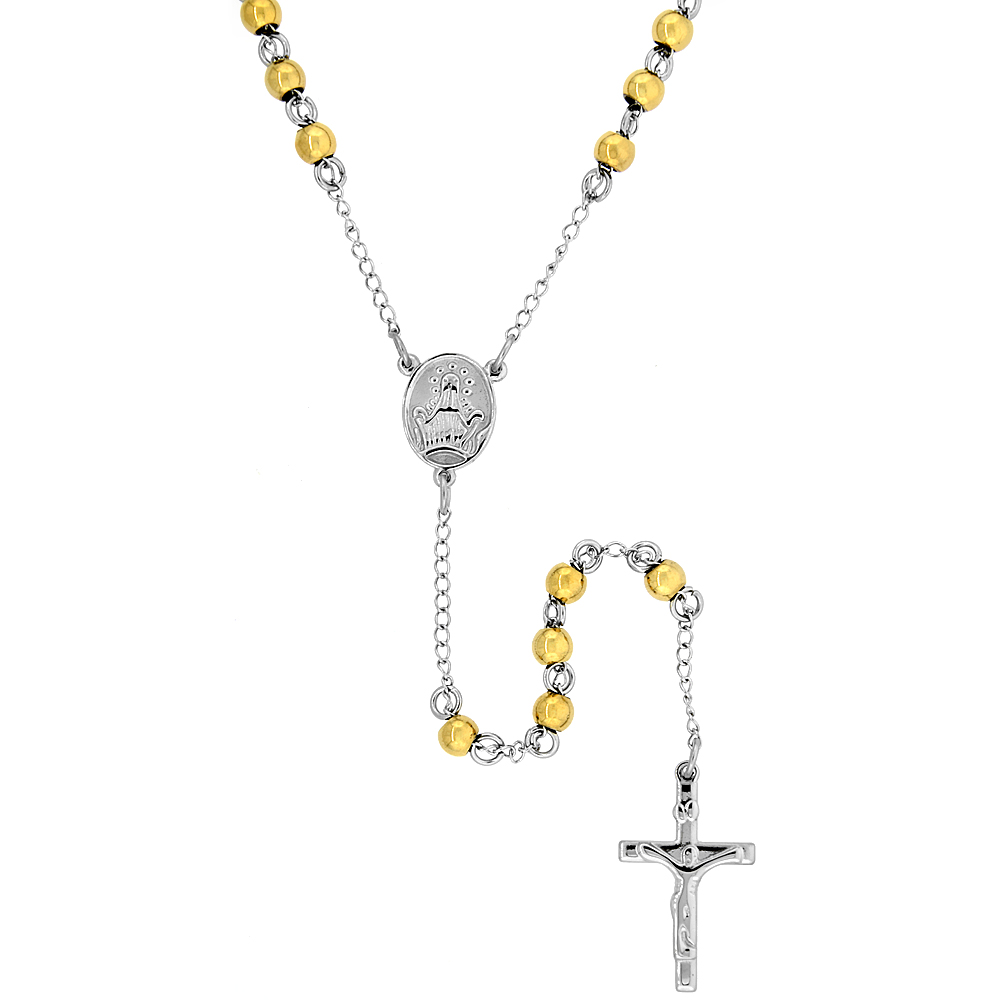 Stainless Steel 26 inch Rosary Necklace w/ 6mm Beads, Yellow Finish
