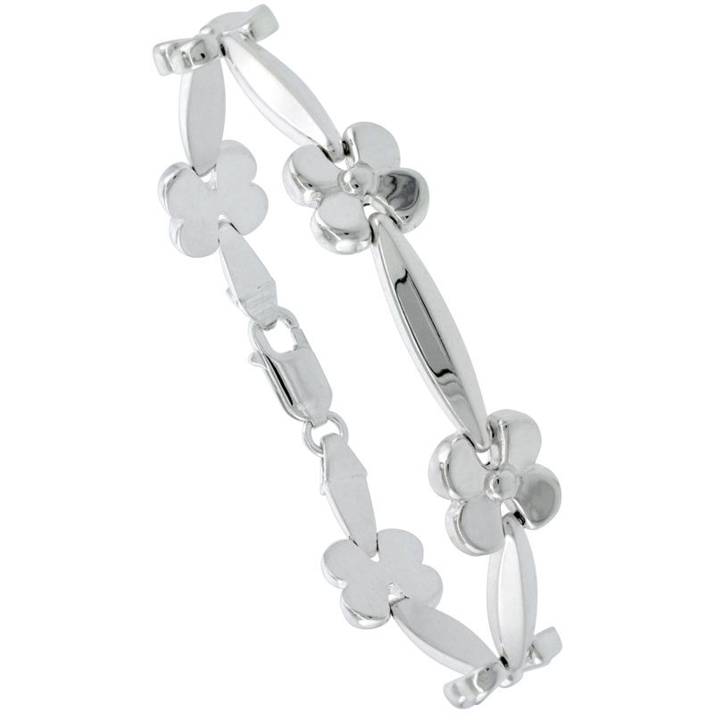 Sterling Silver Stampato Flower Link Necklace or Bracelet , 7/16 in. (11mm) wide
