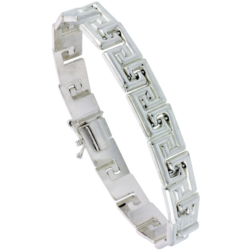 Sterling Silver Stampato Greek Key Bracelet & Matching Necklace , 5/16 in. (8mm) wide