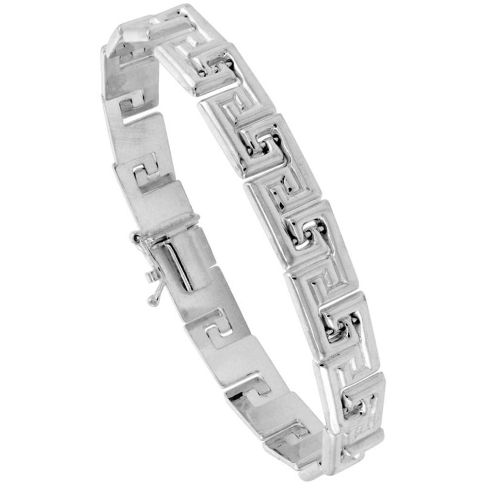 Sterling Silver Stampato Greek Key Bracelet & Matching Necklace , 5/16 in. (8mm) wide