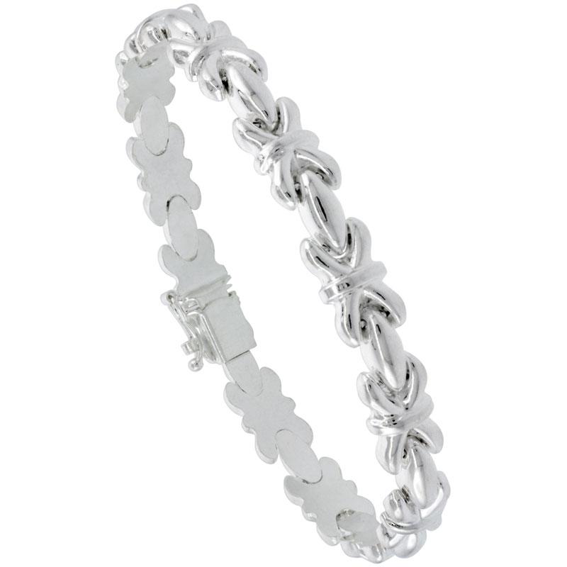 Sterling Silver Stampato XOXO Link Hugs & Kisses Necklace or Bracelet , 9/32 in. (7.5mm) wide