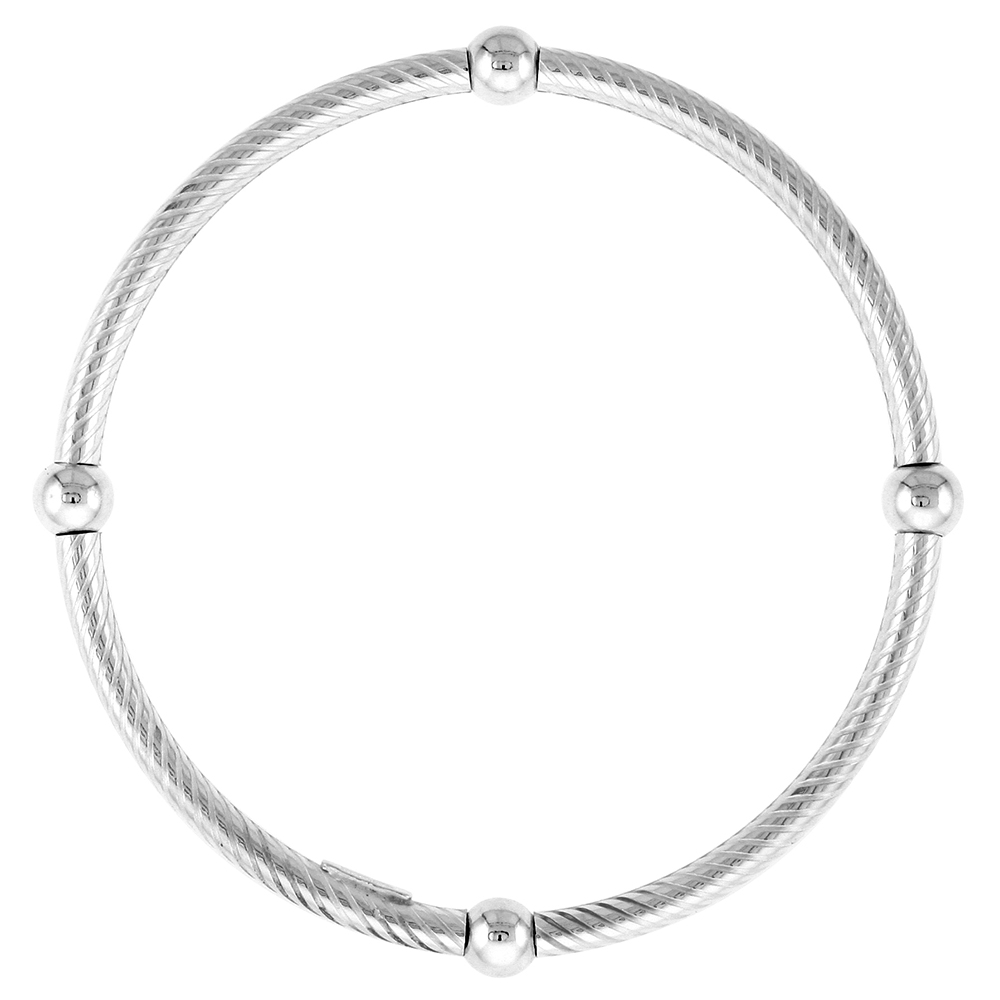 Sterling Silver Striped Stretch Baby Bangle Bracelet, 4 section Single Bead