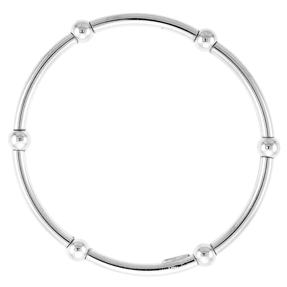 Sterling Silver Stretch Baby Bangle Bracelet, 6 section Single Bead