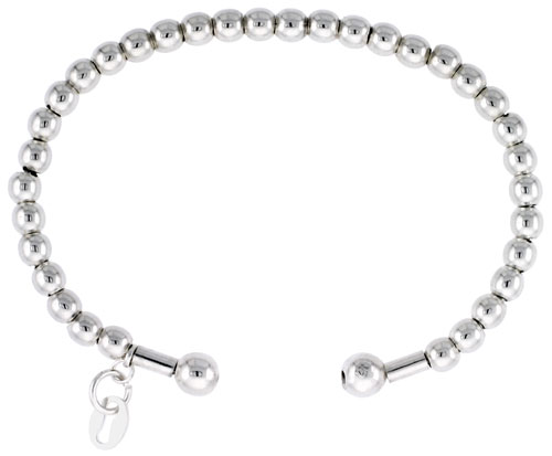Sterling Silver Italian Cuff Bead Baby Bangle Bracelet, fits most 4 inch wrists