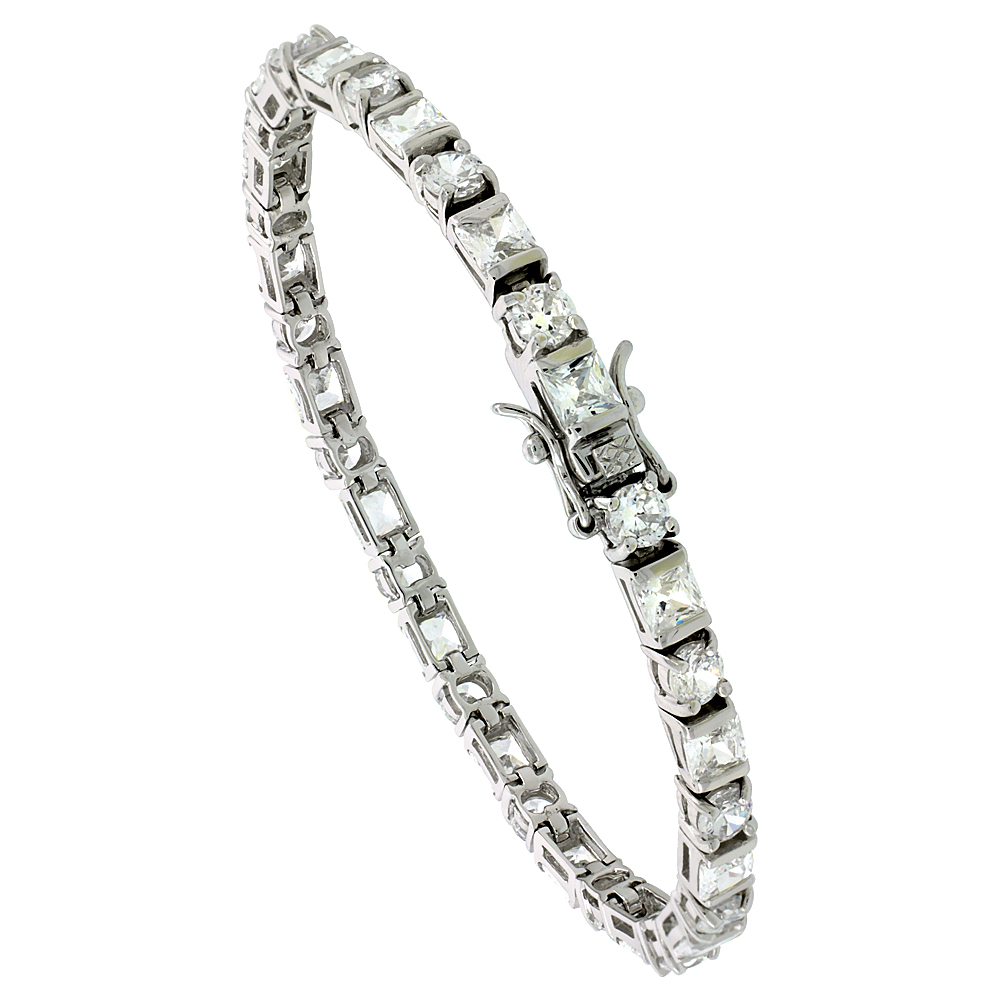 Sterling Silver Tennis Bracelet Cubic Zirconia Stones Rectangular & Round Shape Alternating, Rhodium Finish, with Hidden safety clasp, 7 inches