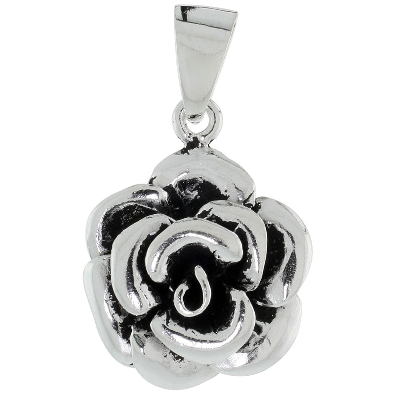 Sterling Silver Begonia Flower Pendant, 3/4 inch wide