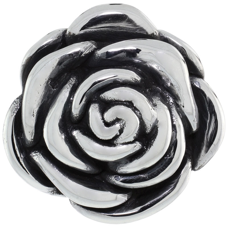 Sterling Silver Camellia Rose Slide Pendant, 1 1/2 inch wide