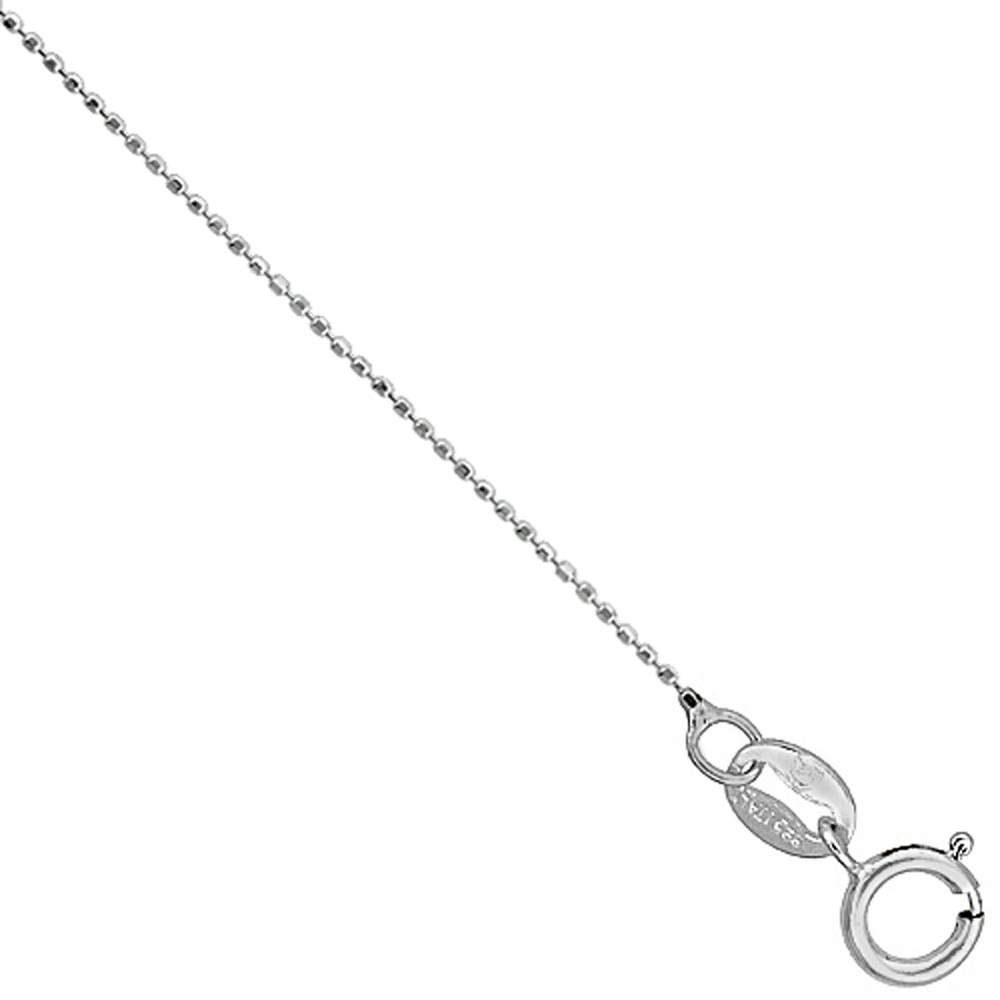 Sterling Silver Faceted Baby Pallini Bead Ball Chain Necklace Very Thin 0.75mm Nickel Free, 16-18 inch
