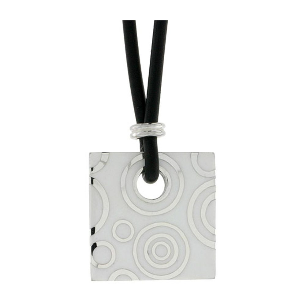 Sterling Silver Circles Pattern Square Disc Pendant on Rubber Necklace White Enamel, 20 inches long