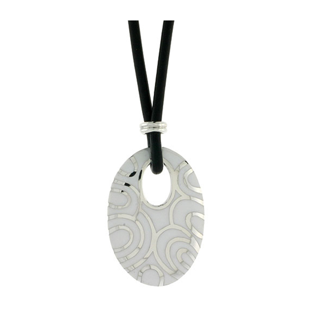 Sterling Silver Oval Disc Pendant on Rubber Necklace White Enamel, 20 inches long