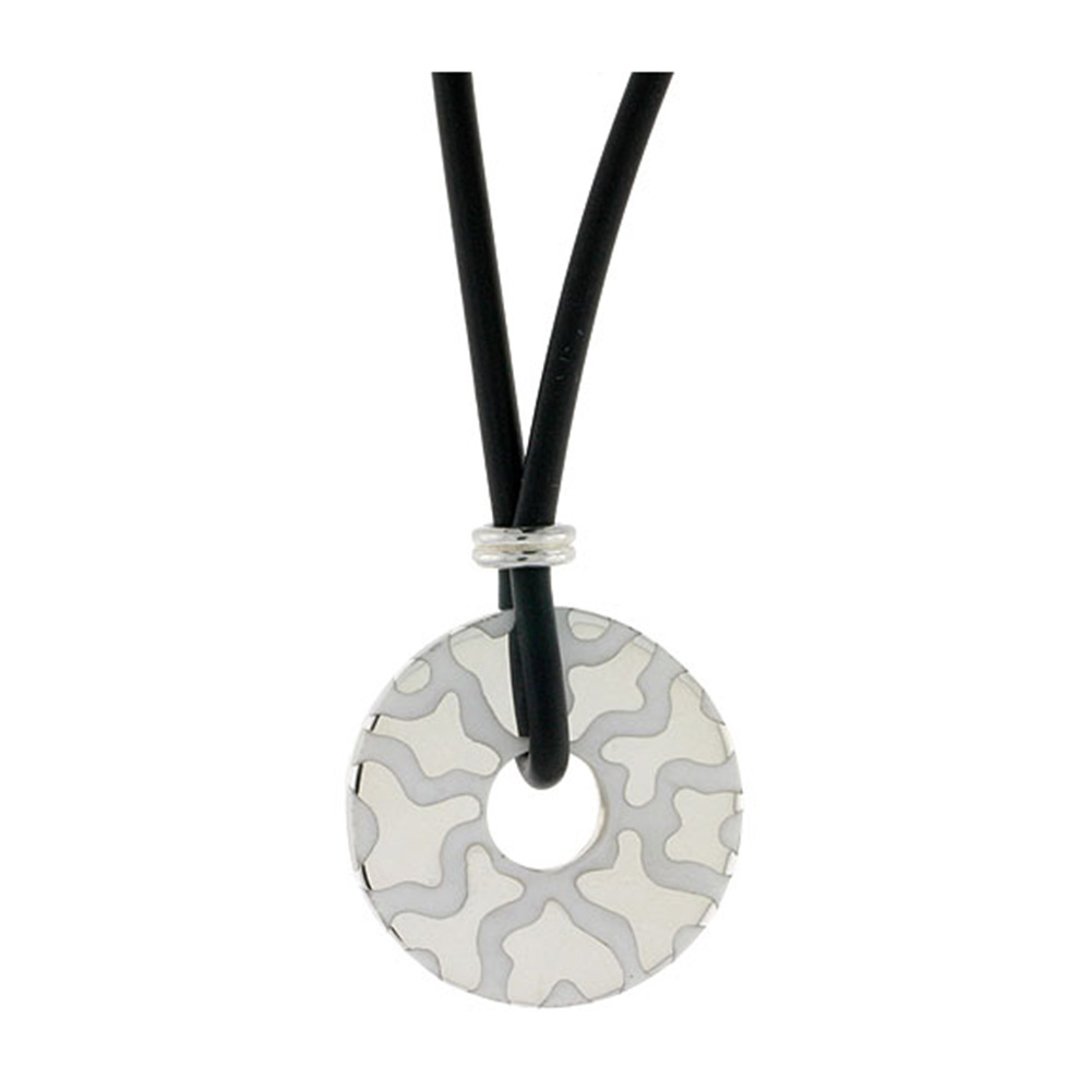 Sterling Silver Abstract Round Disc Pendant on Rubber Necklace White Enamel, 20 inches long