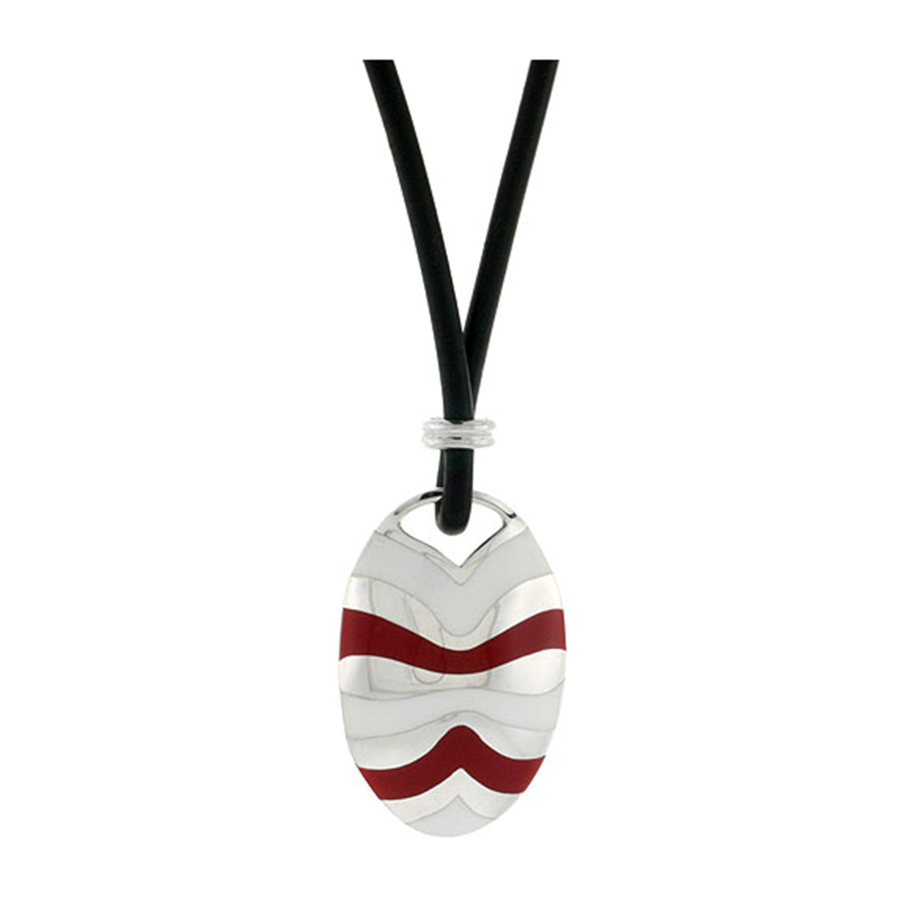 Sterling Silver Curvy Lines Oval Disc Pendant on Rubber Necklace Red & White Enamel, 20 inches long